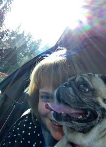 Neener pug and me in the car - Too Many Tabs Open