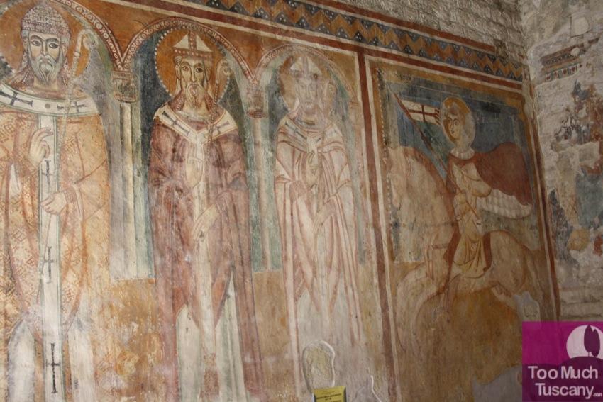 Wall paintings inside Santa Maria Church of Devia