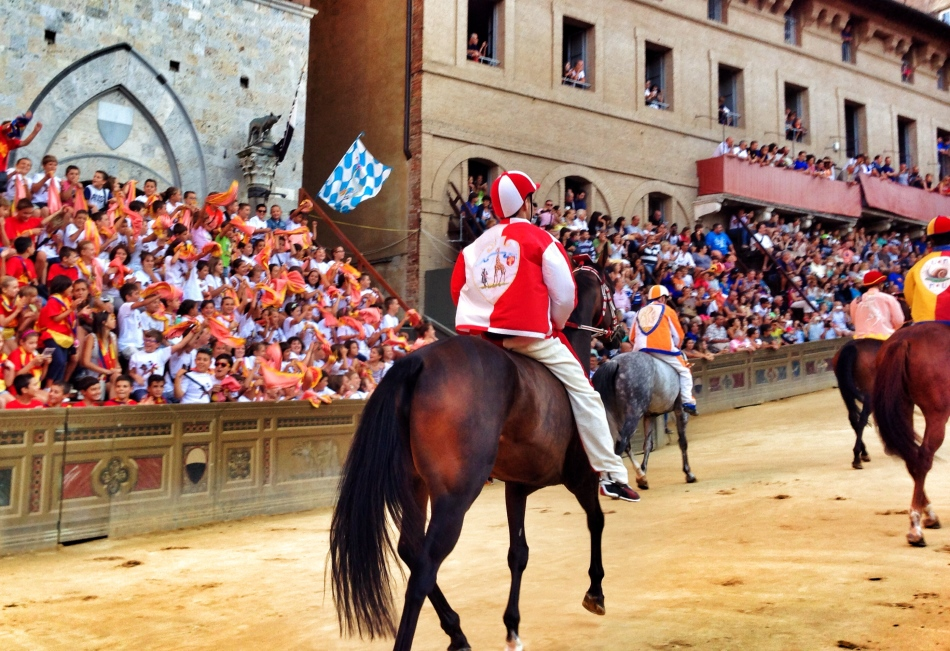 Horses entering in Piazza del Campo