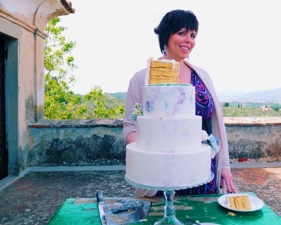 Melanie and her artowrk-cake