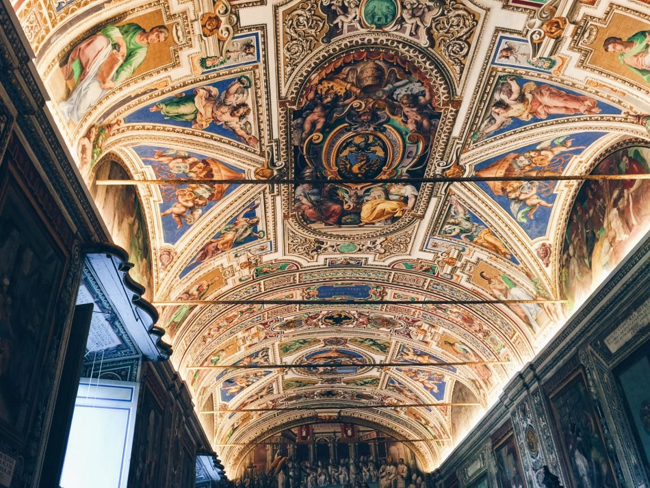 The frescoed ceilings of the Vatican Museums