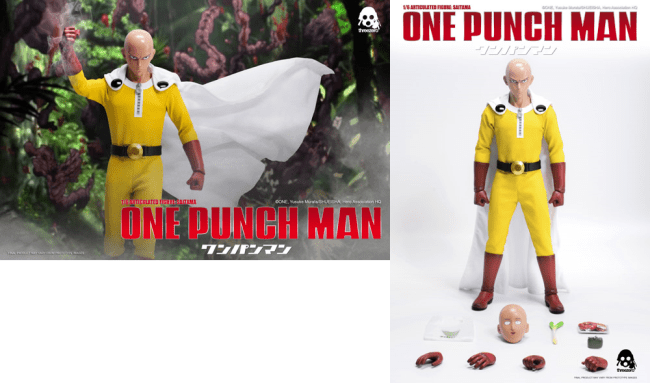 """ONE–PUNCH MAN 1/6 Articulated Figure: SAITAMA is available for pre-order for a limited time at www.threezerostore.com. SAITAMA price at www.threezerostore.com is $160.00USD with worldwide shipping included in the price. This collectible figure stands approximately 12"""" (30cm) tall, comes with Two Interchangeable Heads with different facial expressions; Tailored Hero Suit Costume with Cape, Exchangeable Hands and different accessories (please check detailed description below). ONE-PUNCH MAN 1/6 Articulated Figure: SAITAMA Collectible Details: -SAITAMA stands ~12"""" (~30cm) tall; -Includes Two Interchangeable Heads: -Serious expression; -Usual comical expression. -Articulated figure features the following clothing and accessories: -Tailored Hero Suit Costume with Cape; -""""Munageya"""" Supermarket Shopping Bag; -Snap-lock Coin Purse; -One Package of Crab Claws; -One Leek. -Collectible comes with Exchangeable Gloved Hands: -1 pair relaxed; -1 pair fists; -1 pair gripping. Delivery Date: Estimate 3rd quarter 2017"""