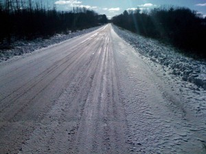 Lots of long straight flat icy snowy roads - the challenge is finding a smooth line and riding as fast as you can without falling