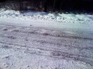 Some very icy roads - this is the stuff you want to avoid