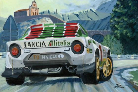 Sandro Munari in de Lancia Stratos van 1977. Acryl op canvas 60x90 cm
