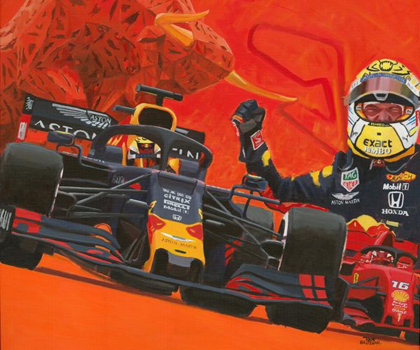 Max Verstappen wint de GP van Oostenrijk (2019). Acrylverf op canvas, 120x100cm.