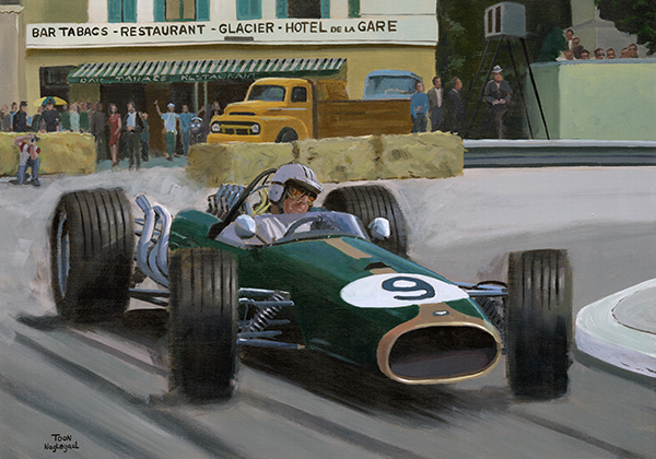 Winnaar GP van Monaco 1967: Denny Hulme in de Repco-Brabham BT24. Acrylverf op canvas, 100 x 70cm
