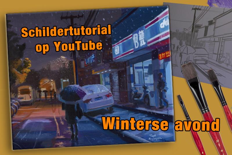 winterse avond schilder tutorial toon nagegaal