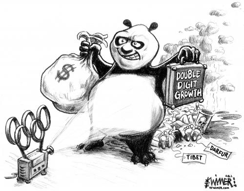 Cartoon: Panda Games (medium) by karlwimer tagged china,olympics,panda,bear,growth,progress,darfur,tibet,pollution,karl,wimer