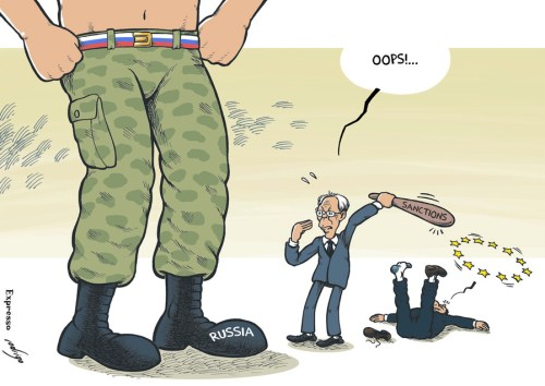 Cartoon: It will hurt me more... (large) by rodrigo tagged russia,europe,european,union,eu,ukraine,sanctions,putin,van,rompuy,barroso