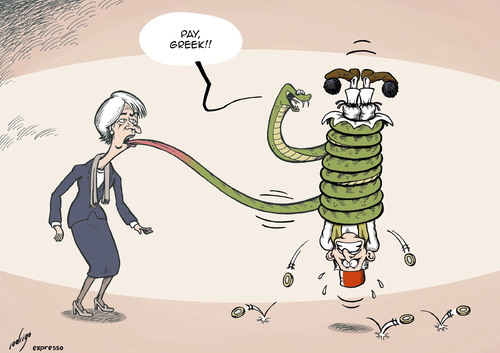 Christine Lagarde of the IMF making Greece pay debts, cartoon
