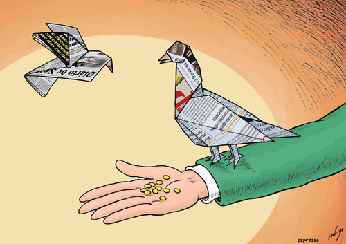 Cartoon: Media manipulation (medium) by rodrigo tagged press,media,newspaper,democracy,freedom,journalism