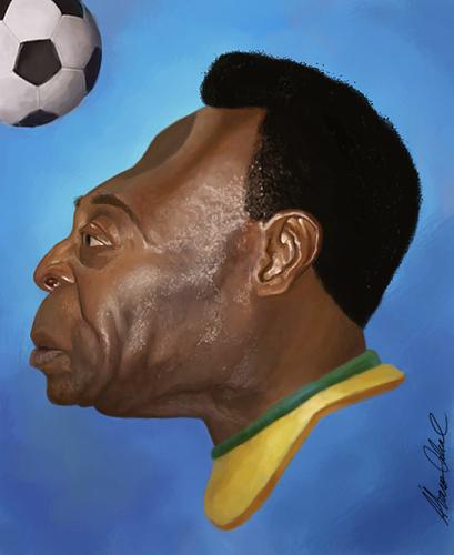 Cartoon: Pele (medium) by alvarocabral tagged caricature