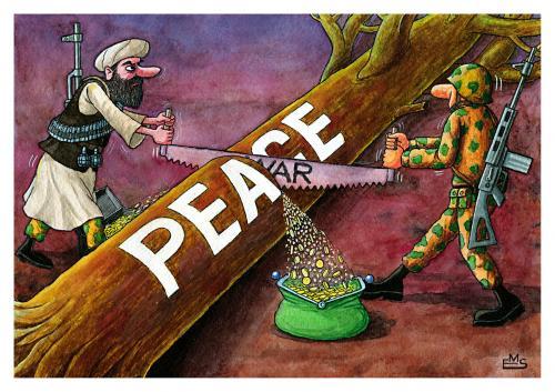 War And Peace By Makhmud Eshonkulov   Politics Cartoon   TOONPOOL