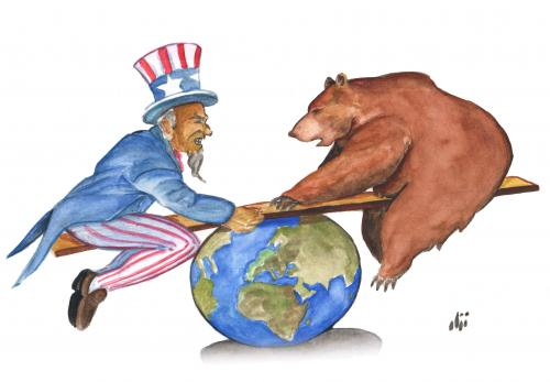 Image result for caricature u.s. russia war