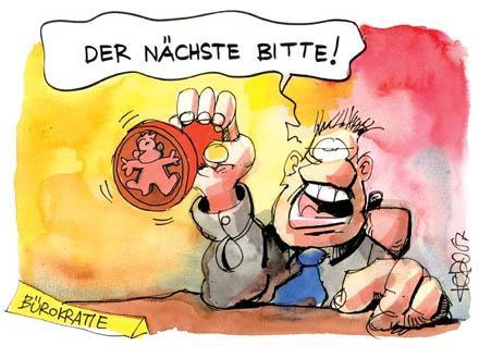 Cartoon: Der Nächste bitte! (medium) by Kostas Koufogiorgos tagged bürokratie,beamte,bürokratie,beamte,beamter,beamtentum,amt,ämter,monotonie,routine,gleichgültigkeit,apathie,teilnahmslos,engstirnig,sinnlosigkeit,wahnsinn,willkür,abstempeln,stempel,schubladendenken,einstufen,statistik,zahlen,praxis,theorie