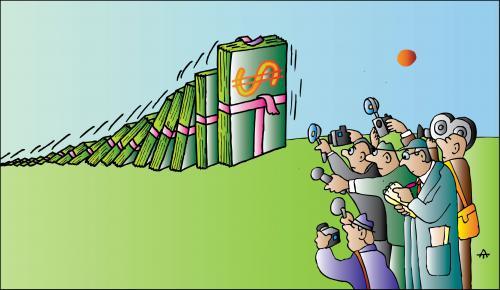 Cartoon: Domino (medium) by Alexei Talimonov tagged domino,dollar,financial,crisis,recession