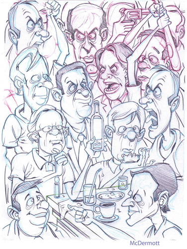 Cartoon: Angry Crowd (medium) by Cartoons and Illustrations by Jim McDermott tagged angry,crowd,sketch