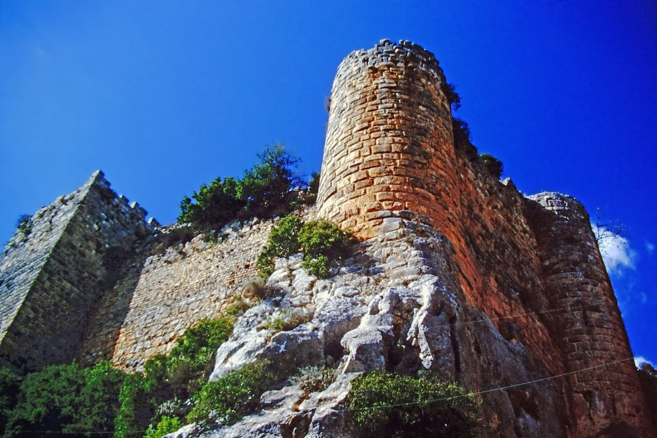 Looking up at castle walls