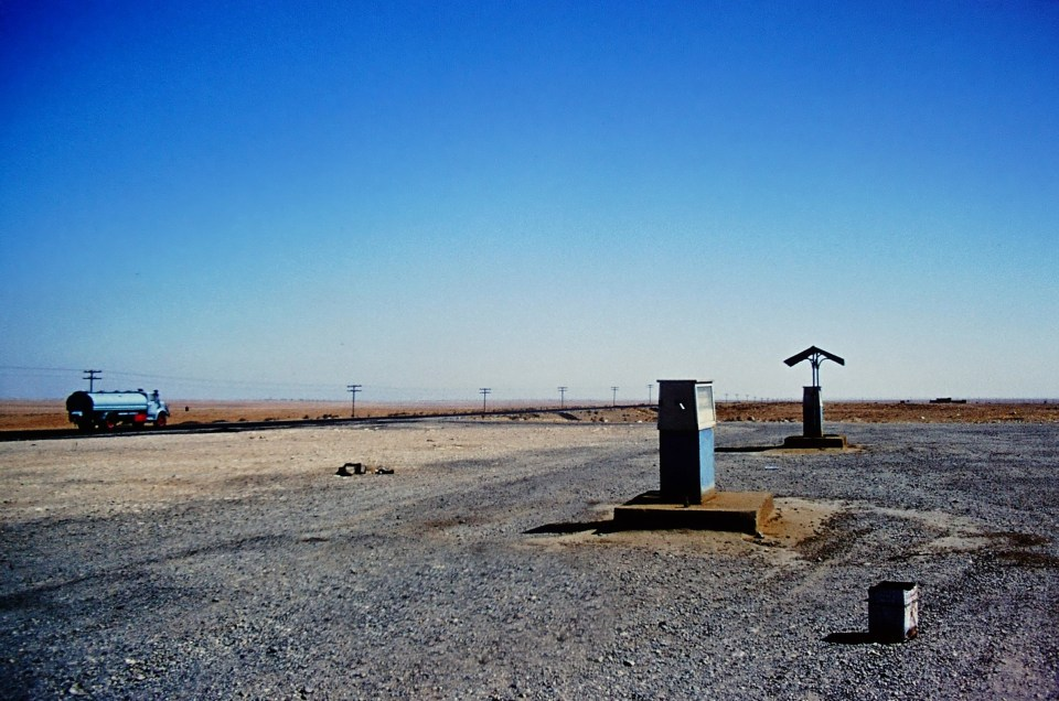 Petrol pump by a desert road