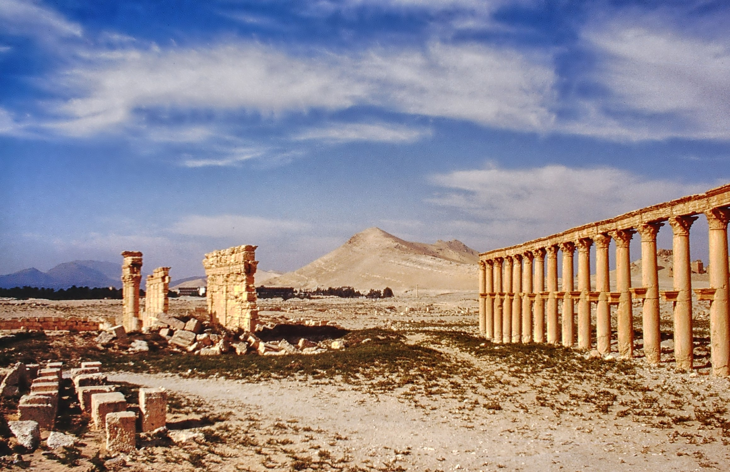 Desert with stone columns