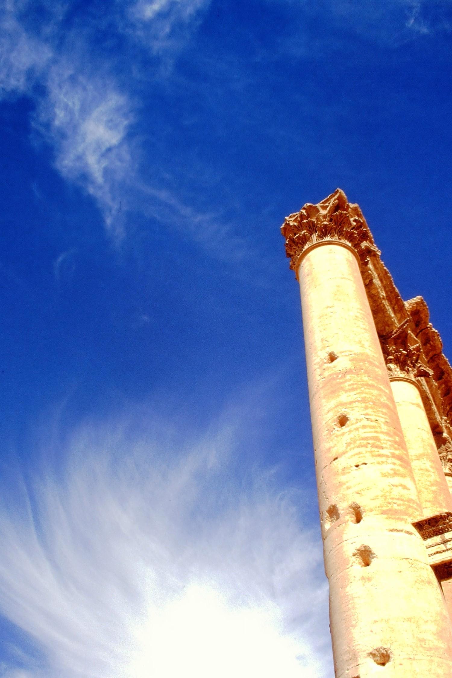 Columns against a blue sky