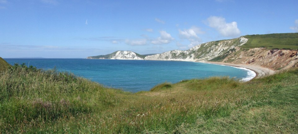 Panorama of bay with white cliffs
