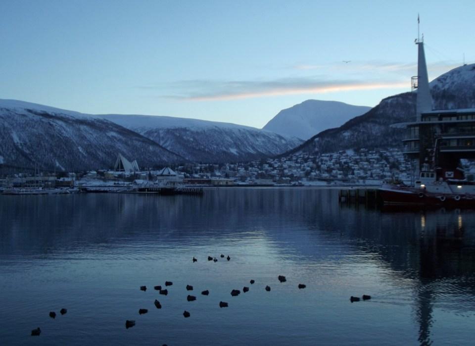 Wintery harbour scene
