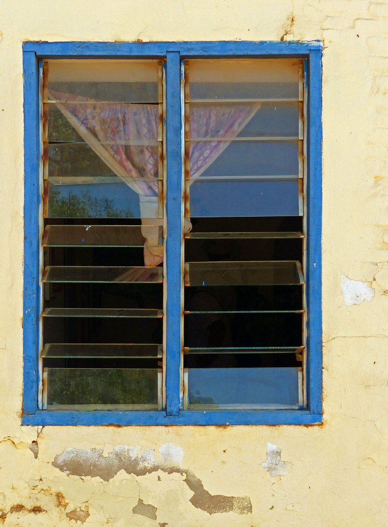 Window with blue frame