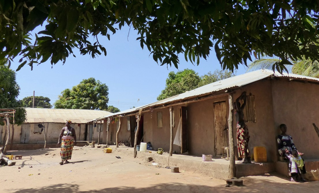 Houses and women in an African village