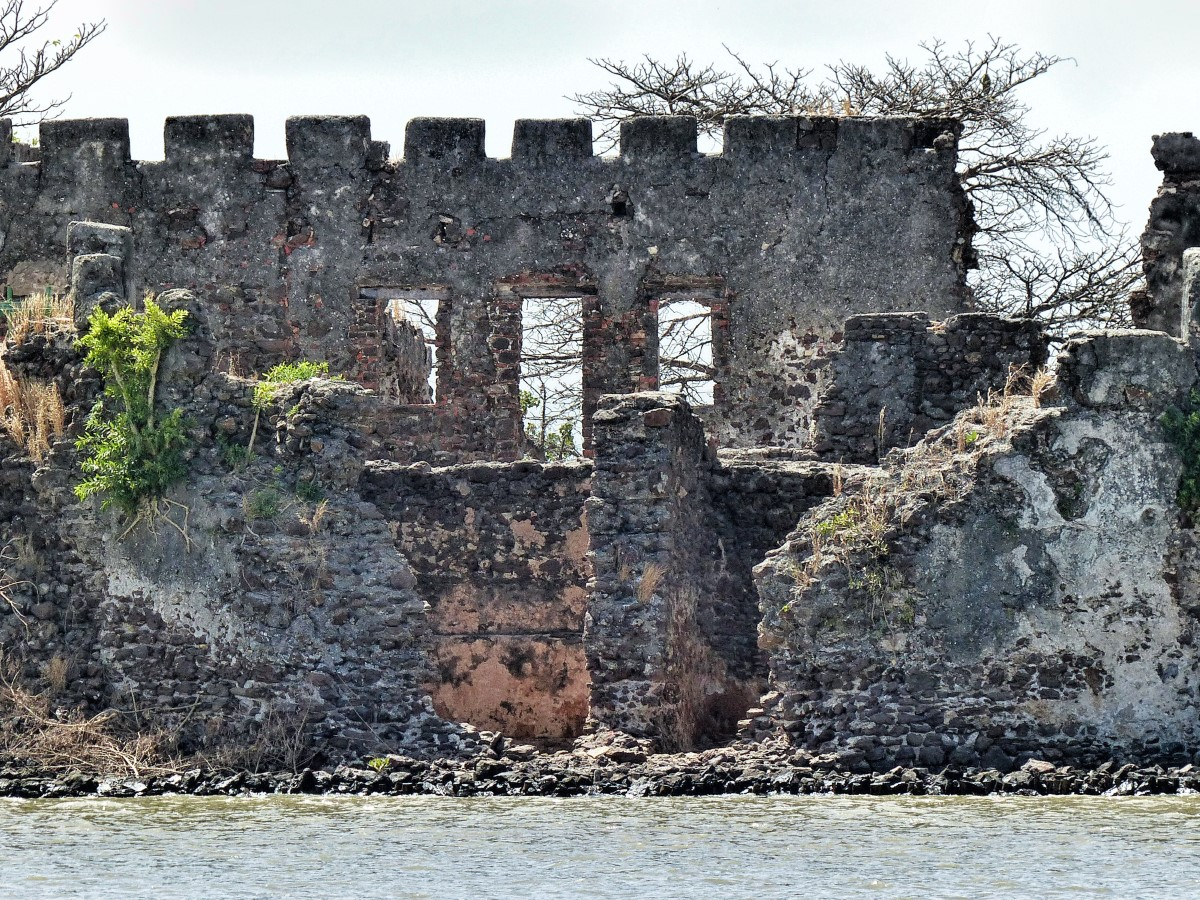 Ruins of a fort on river bank