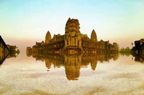 Edited image of Ankor Wat, with reflection added