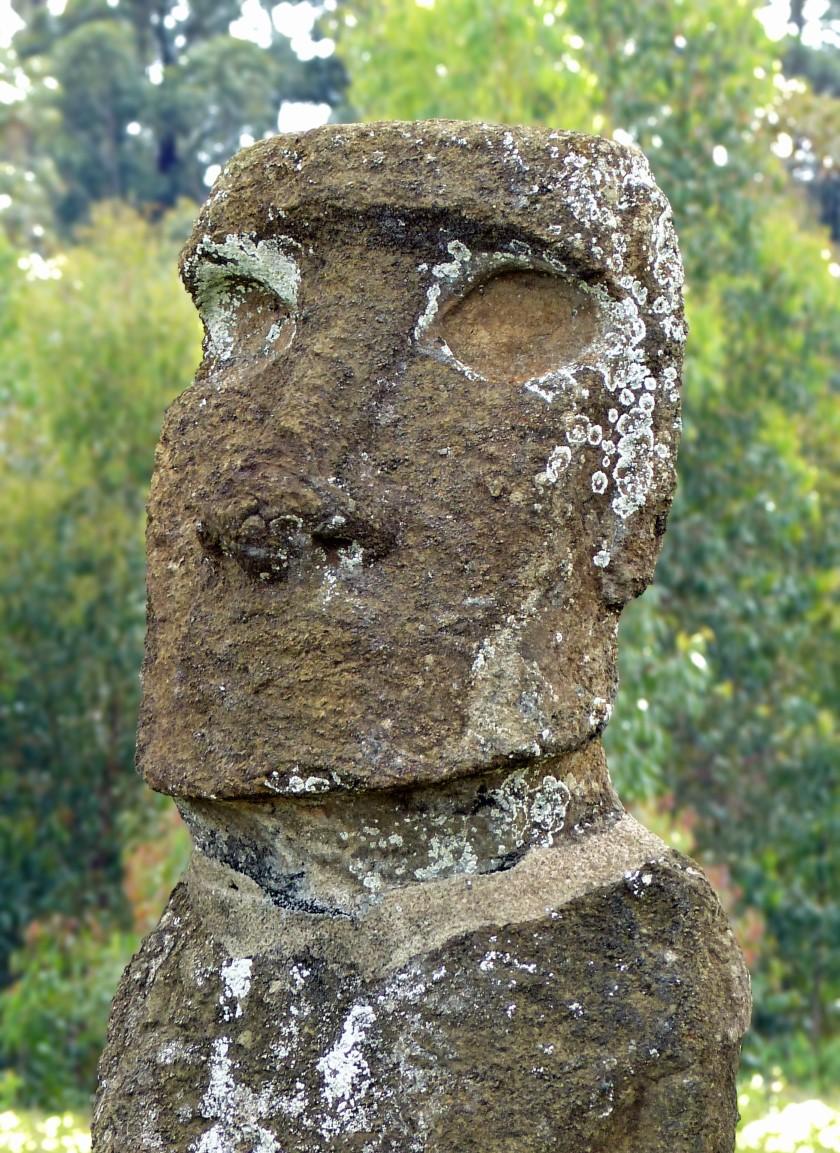 Close-up of moai face