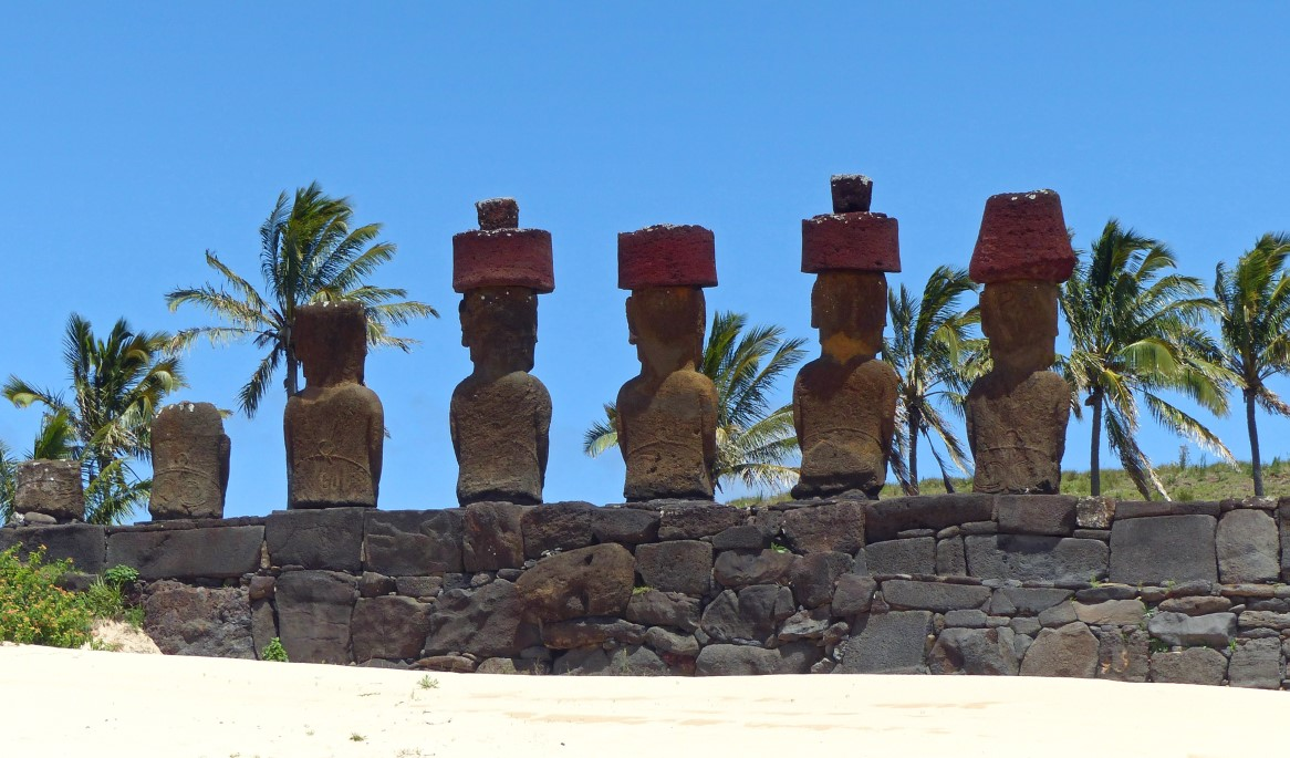 Row of moai from behind