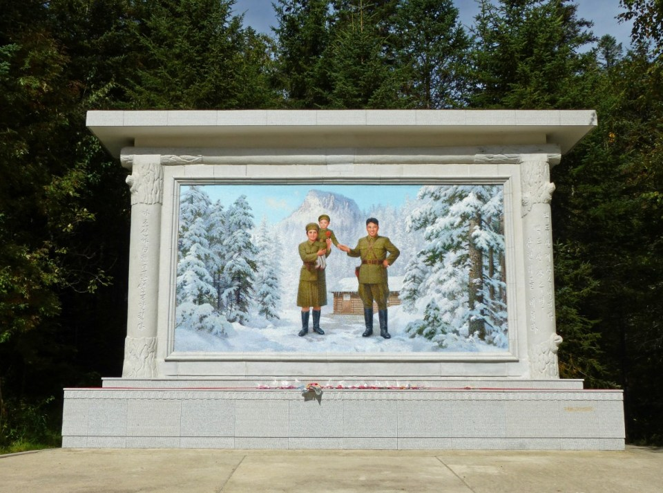 Mosaic of family in army uniform in a snowy forest