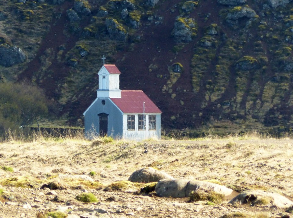 Small church by a cliff