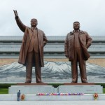Very large statues of North Korean Leaders