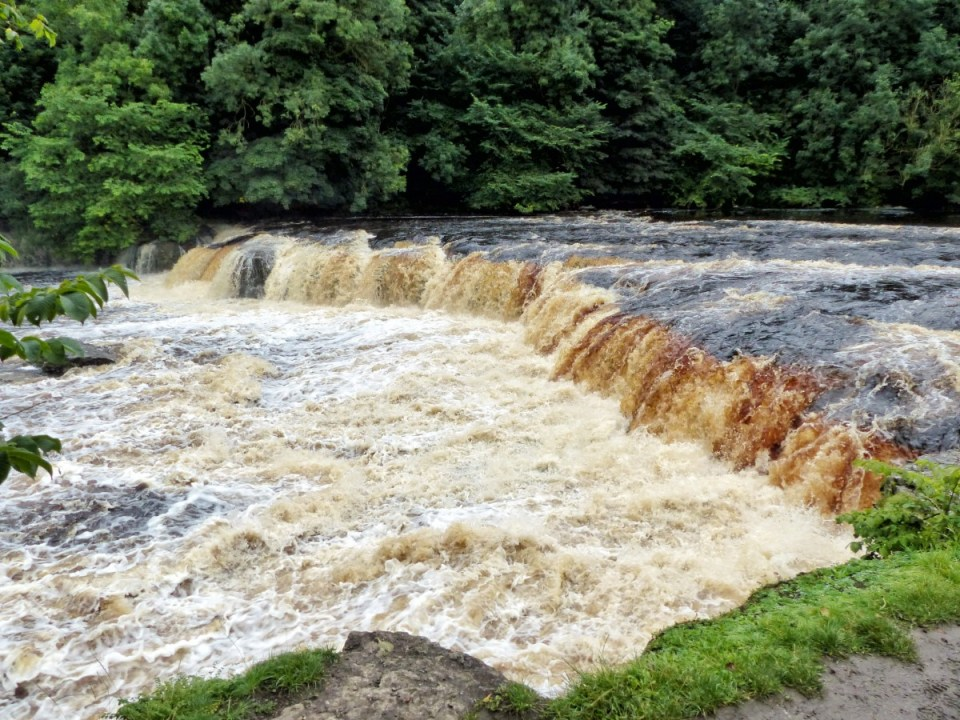 Fast flowing river over a cascade