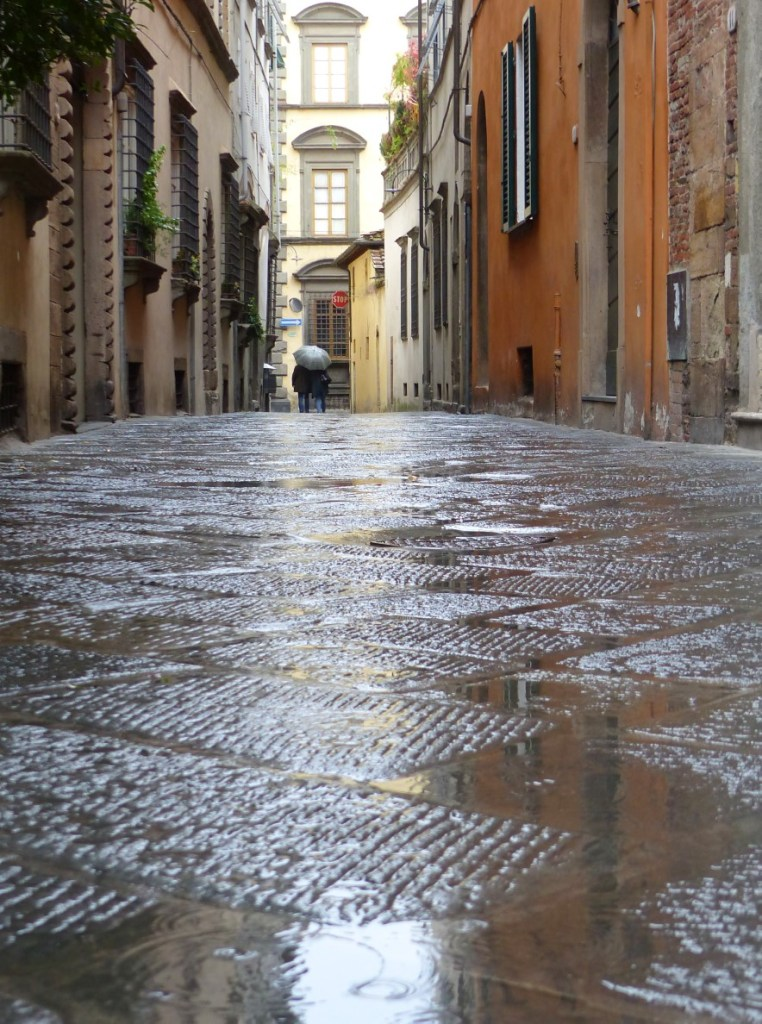 Italian city street in the rain