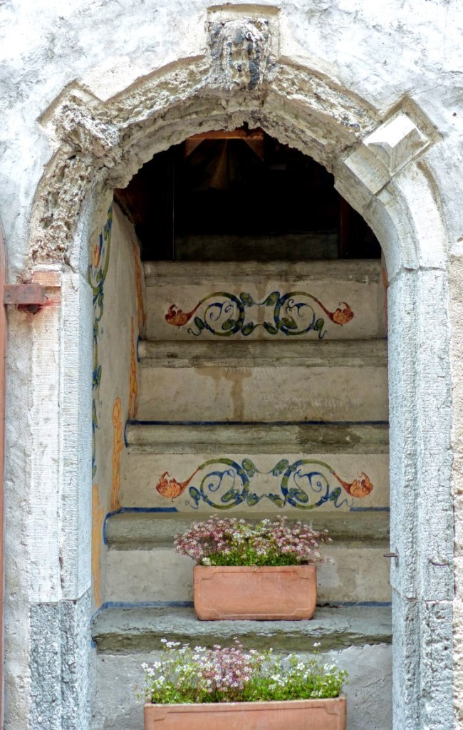 Door with steps and flower boxes