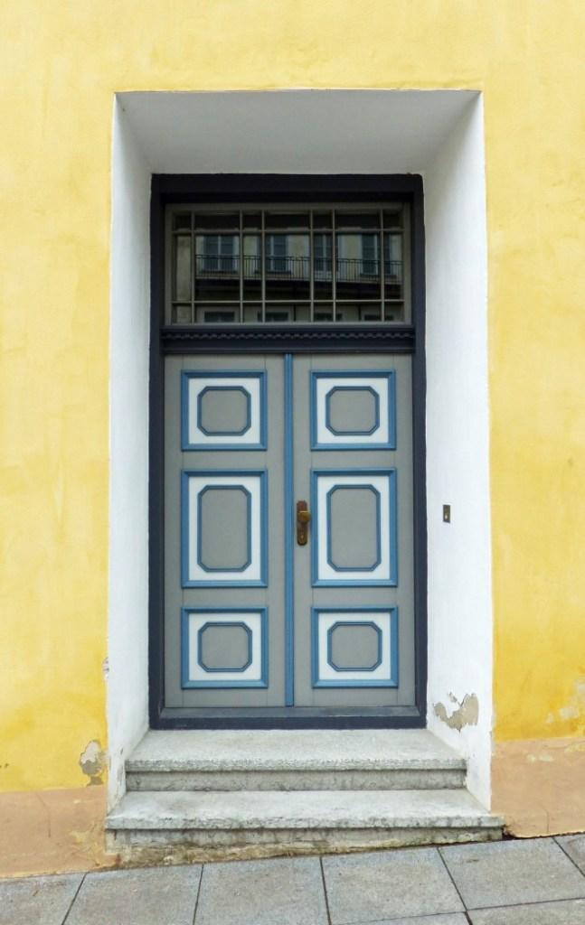 Grey and blue door