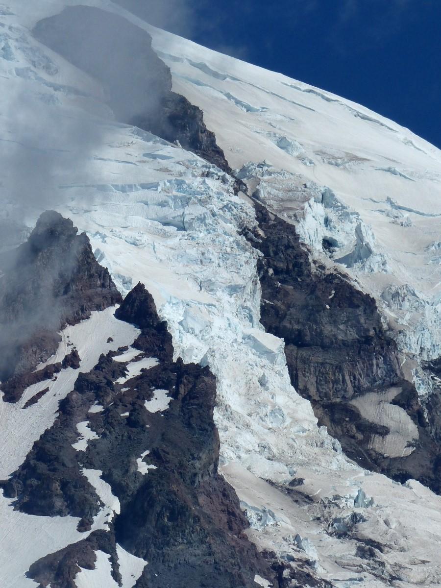 Glacier on mountainside