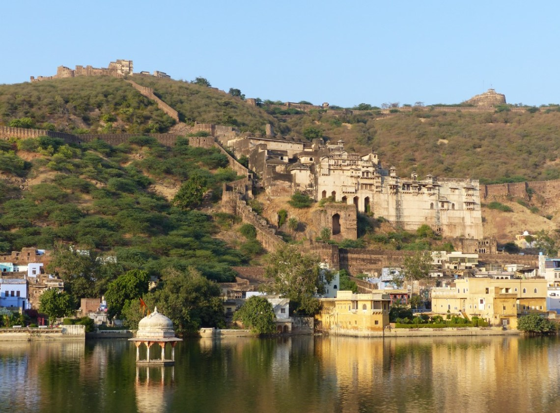 Lake with palace on the hill beyond