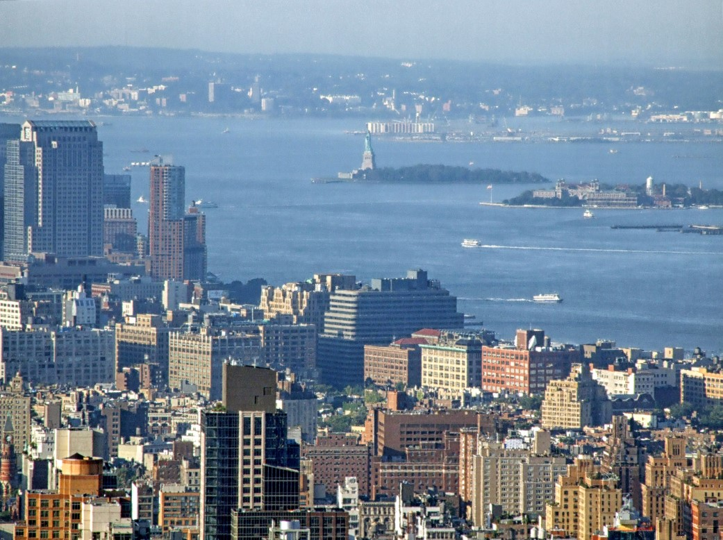 View of New York City with Liberty Island