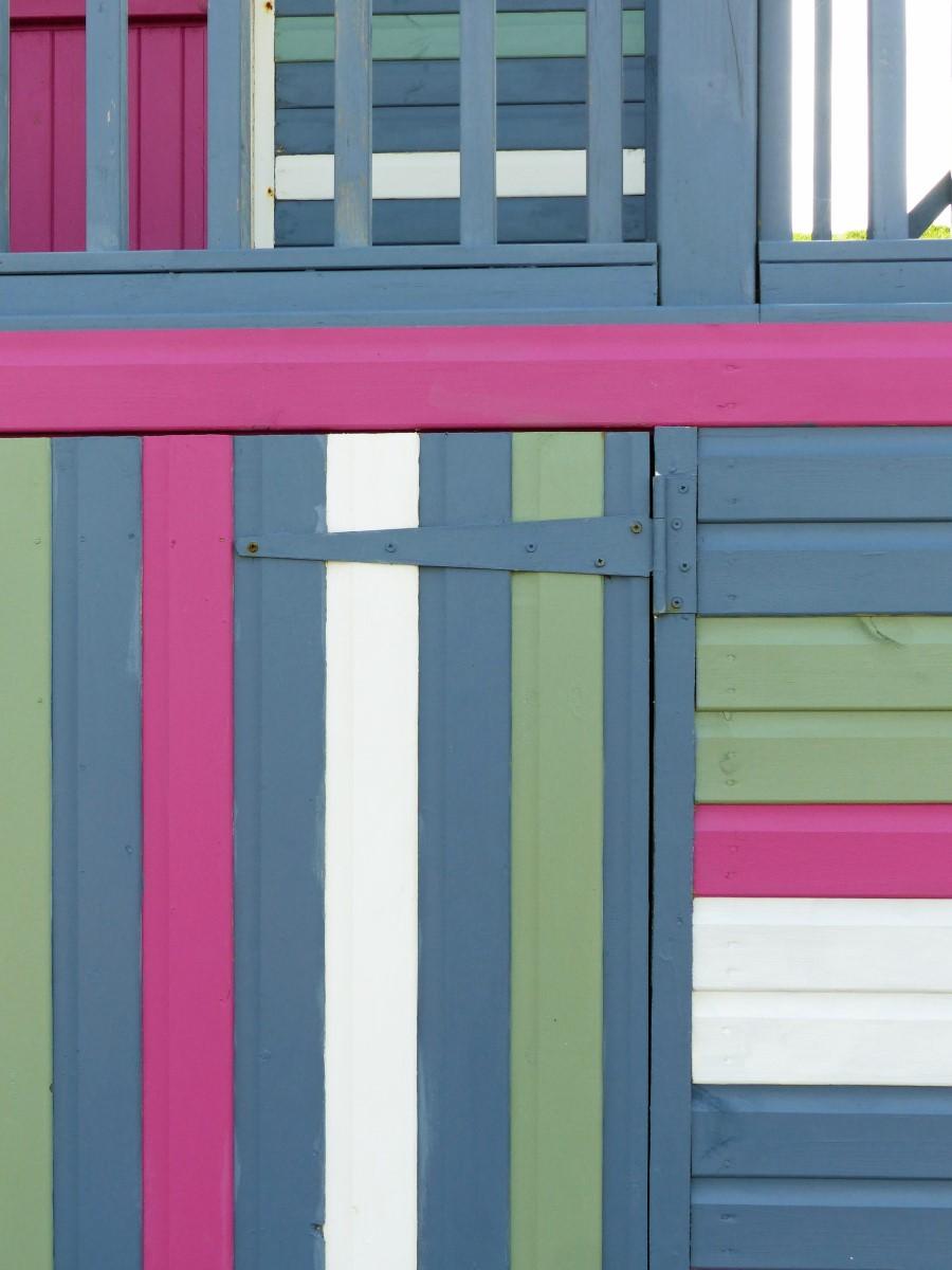Wooden hut detail, coloured stripes