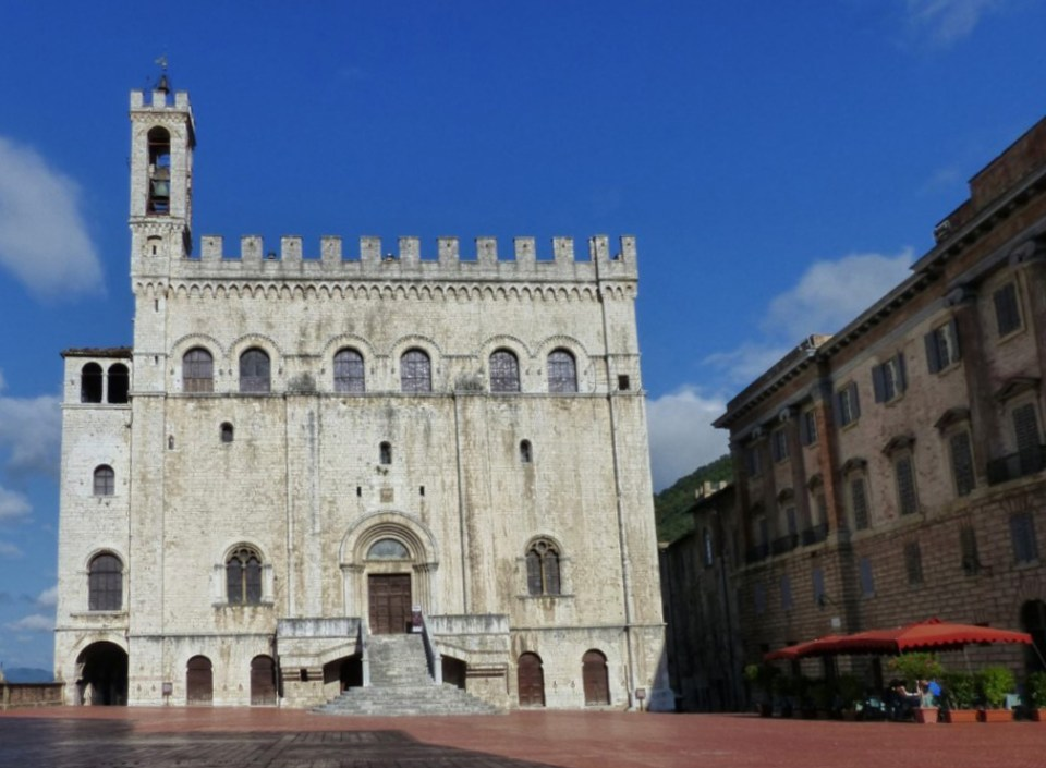 Medieval palace in a paved square