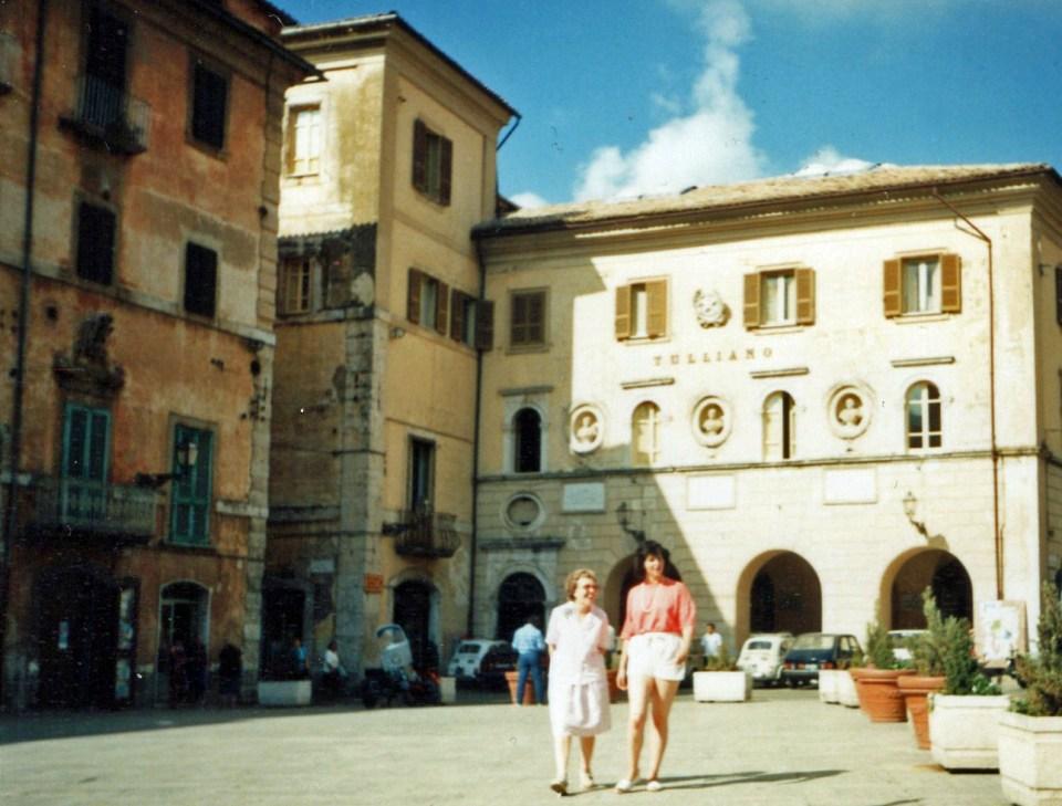 Old photo in an Italian piazza