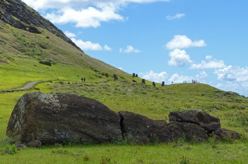 Hillside with large stone heads