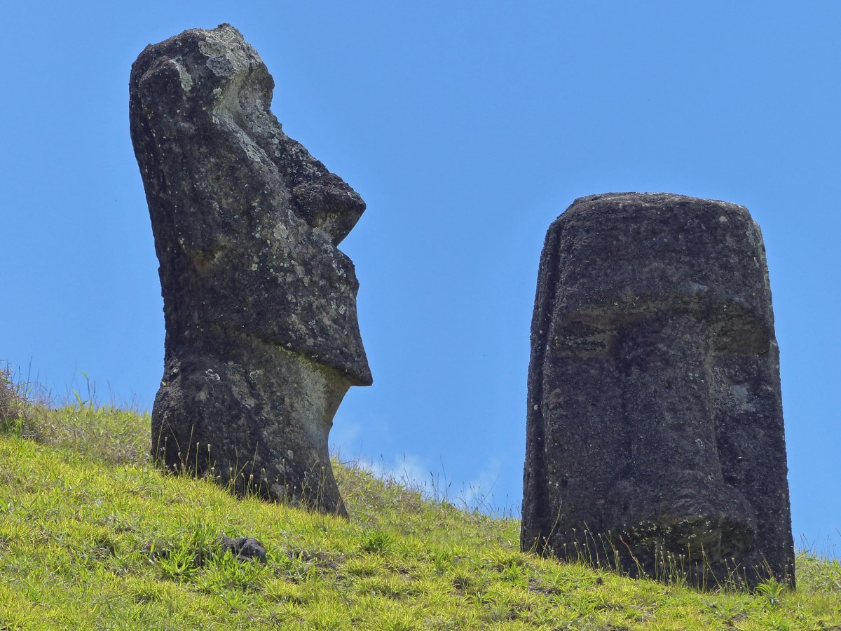 Large stone head and partly carved rock