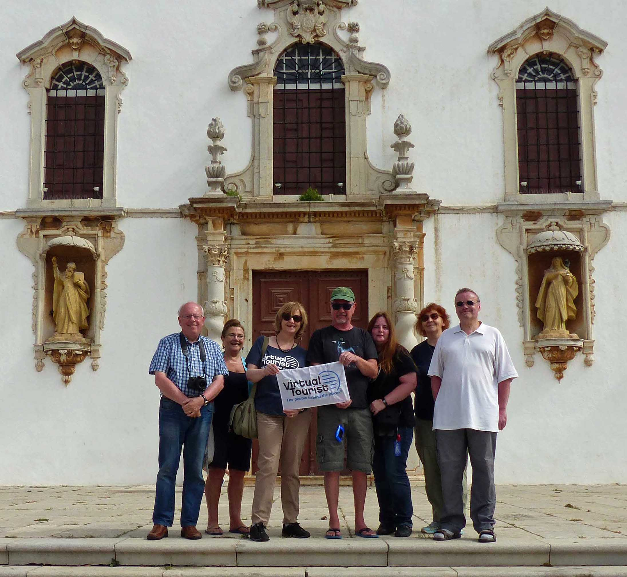 Group of people in front of a church
